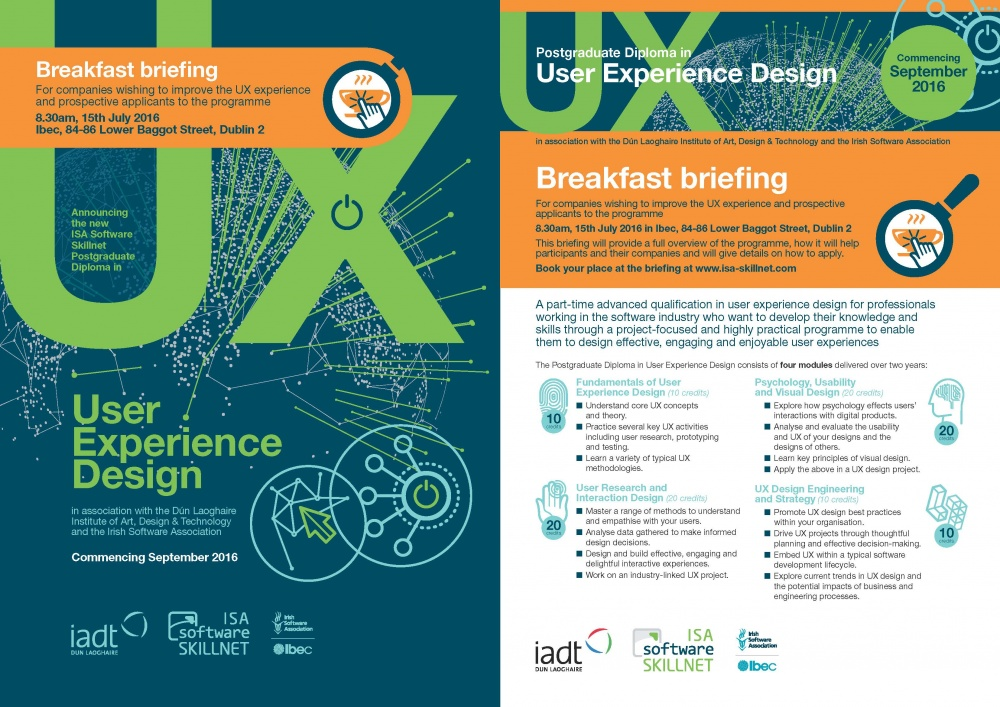 Breakfast Briefing New Part Time Postgraduate Diploma In User Experience Design Ux Events Technology Ireland Software Skillnet Training For The Software And Digital Technology Sector Technology Ireland Software Skillnet